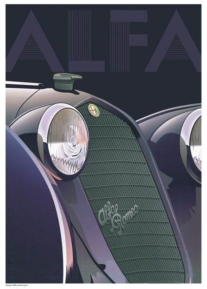 "Alfa Romeo poster | This poster is a recreation of the original which primarily promoted the brand, but featured the bonnet and grille of the Alfa 8C 2900 (circa 1935) the fastest pre-war automobile. Note how the art deco ""ALFA"" graphic at the top emulates the lines in the radiator grille."