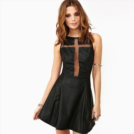 'Grace' PU Dress with Sheer Cross and Back from VICTORS CROWN Online