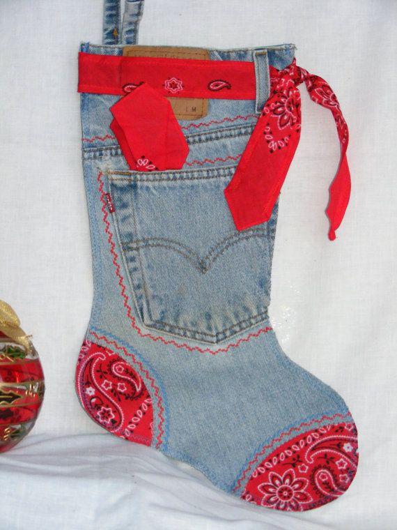 Red Bandana Denim Christmas Stocking by ChristmasDenimNDoDad, $20.00