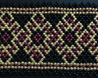 Flaming huichol bracelet pattern por Vixenscraft en Etsy