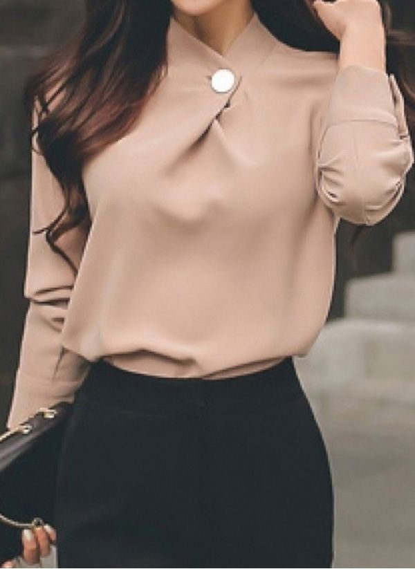 Solid Elegant High Neckline Long Sleeve Blouses 5
