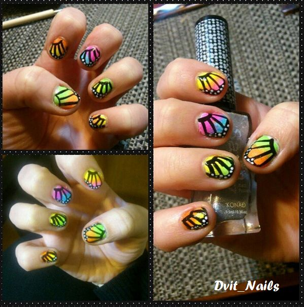 Mariposas de colores :) #mariposas #nailart #degradé
