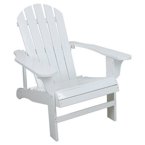 Outdoor Weather Resistant Patio Deck Garden Adirondack Chair in White Resin