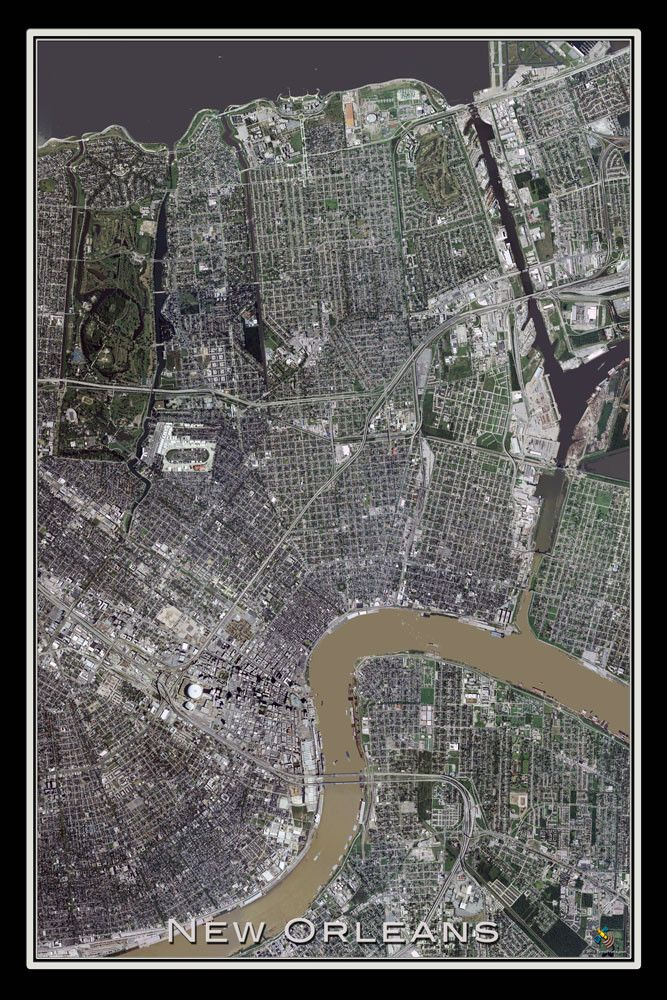 New Orleans Louisiana Satellite Poster Map 1410