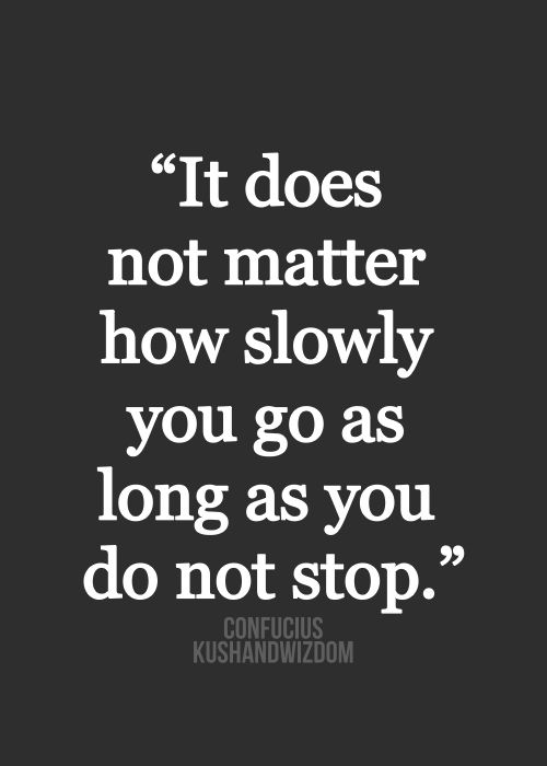 "It doesn't matter how slow you go, as long as you do not stop."" - Confucius"