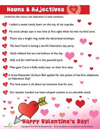 valentine nouns and adjectives 5 just for kids pinterest. Black Bedroom Furniture Sets. Home Design Ideas