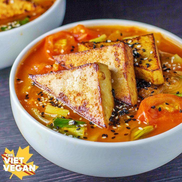 Vegan Spicy Lemongrass Noodle Soup - The Viet Vegan