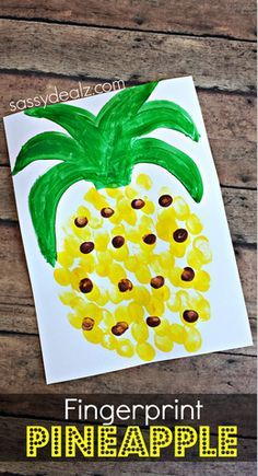 Pineapple Fingerprint Craft for the Kiddos! This is the perfect summer activity to do with the family or at the end of the school year!
