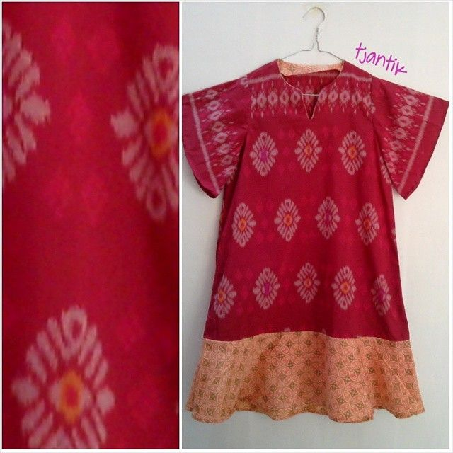 dress from tenun and handstamped batik