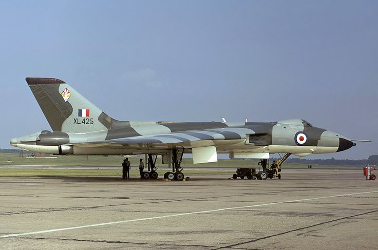 """Avro Vulcan B2 XL425 617 Squadron RAF Waddington August 1973. Parked on the """"Lazy Runway"""" it appears."""