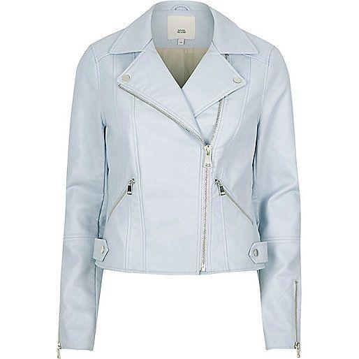 Light blue faux leather biker jacket - Jackets - Coats & Jackets - women