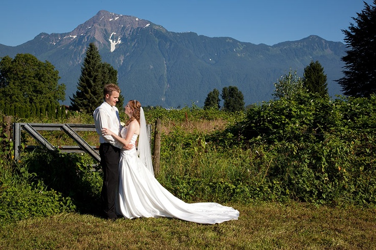 Bride and Groom in front of Cheam Mountain, Agassiz, BC