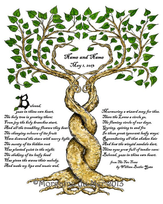 Two Trees Marriage Wedding Handfasting Art Print Personalised Anniversary Renew Vows