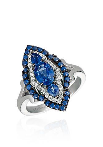 Blueberry Sapphires™ with Vanilla Diamonds® Ring in 14k Vanilla Gold®.  At Belk.