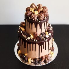 Up-close and personal to this Ferrero, salted caramel small two-tier cake! Hope everyone has had a great weekend! Onto the new week!