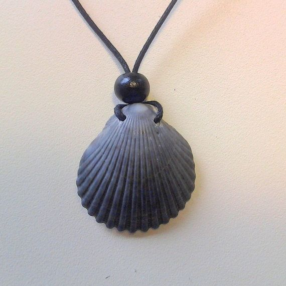 Grey Scallop Seashell Necklace on black cotton string by RumCay, $9.95