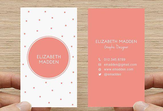 Polka Dot Business Card. Spots, Confetti Calling Card, Printable DIY Custom Digital Download on Etsy, $15.00