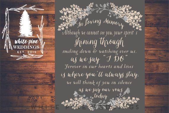 PRINTABLE Wedding MEMORIAL Sign In Loving by WhitePineWeddings