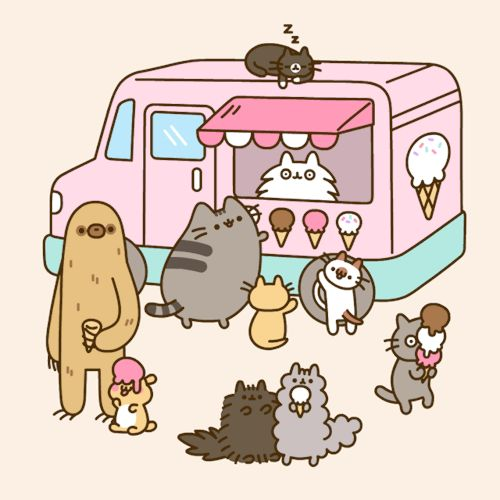 Pusheen and friends at the ice cream truck