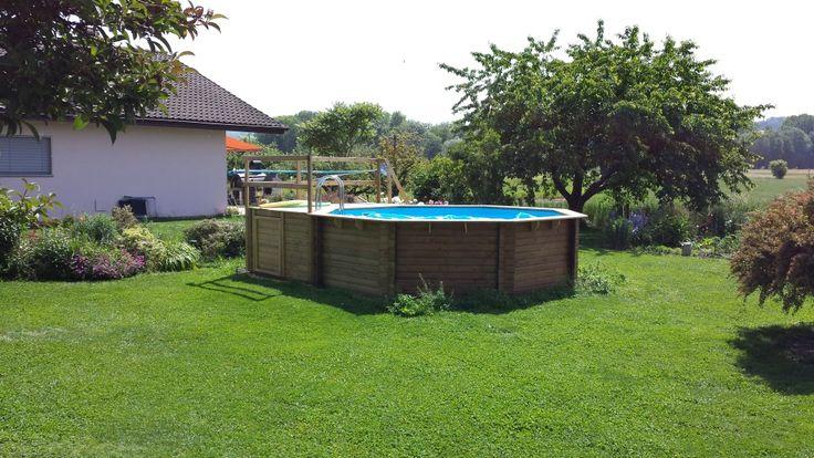 Holzpool KARIBU Modell 2 - Schwimmbecken aus Holz Und so sieht es beim Kunden aus
