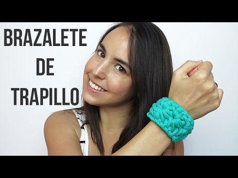 Pulsera brazalete de trapillo | Punto estrella de crochet - YouTube