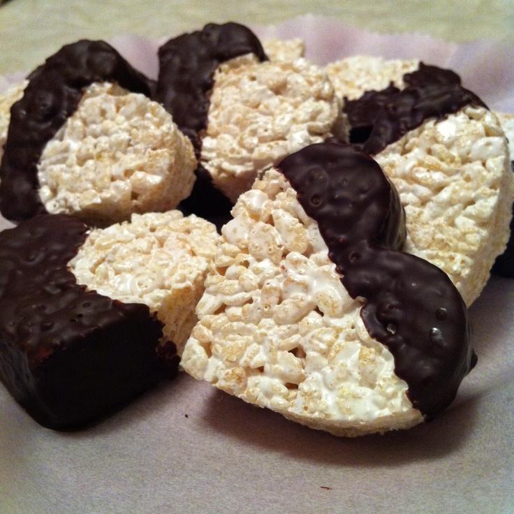 Rice Crispy Dark Chocolate Dipped Treats