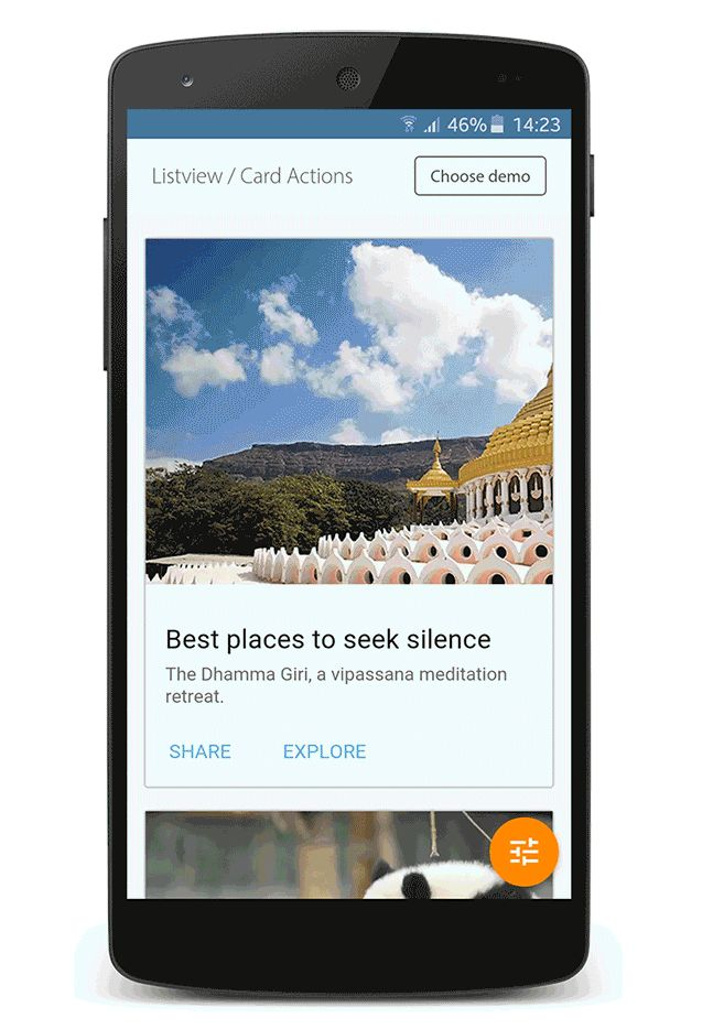 Listview, Card Actions, #UI Design, #Application, #Android, #Material