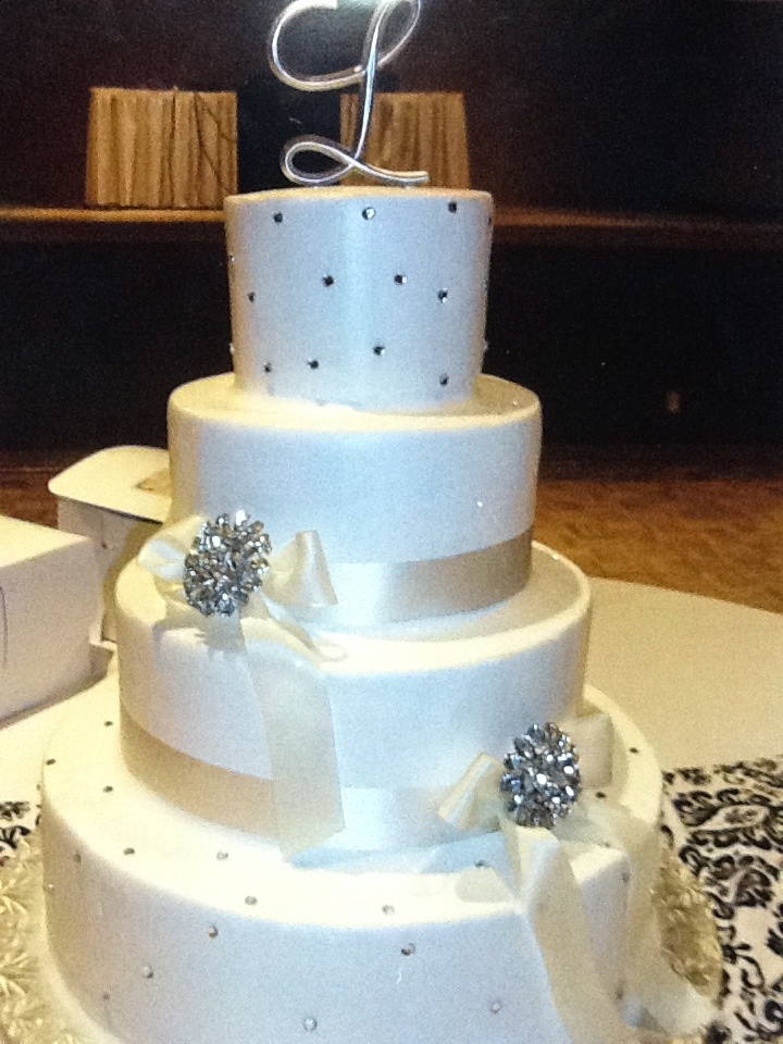 Calumet Bakery Wedding Cake With Rhinestones Ribbon And Brooches