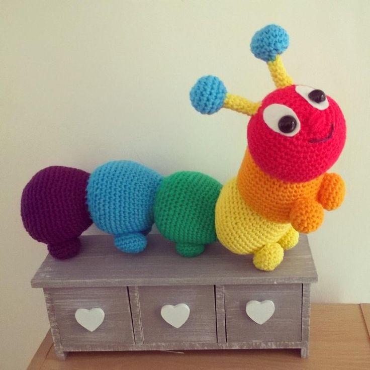 Cyril the rainbow caterpillar Crochet pattern by Liz Ward
