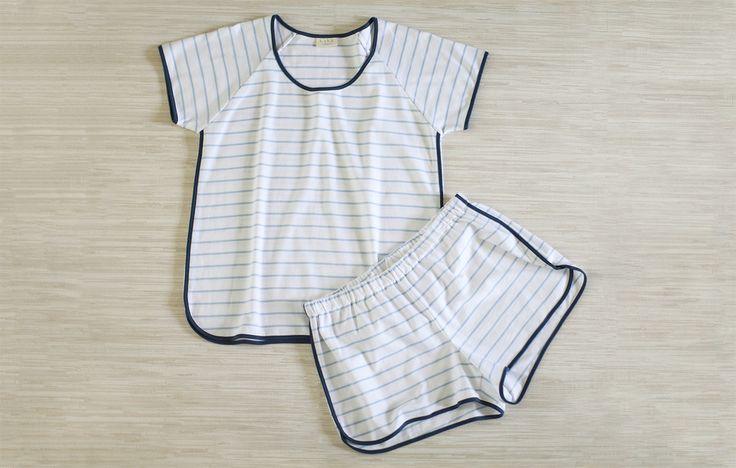 LAKE pima cotton pajamas. Shorts set. Marine Stripe.