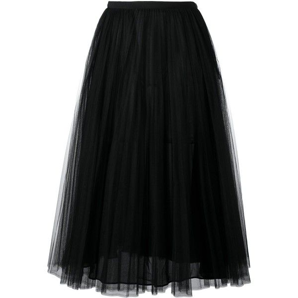 Valentino Pleated Long Skirt (22,155 GTQ) ❤ liked on Polyvore featuring skirts, black, floor length skirts, ankle length skirt, a line maxi skirt, a line skirt and valentino skirt