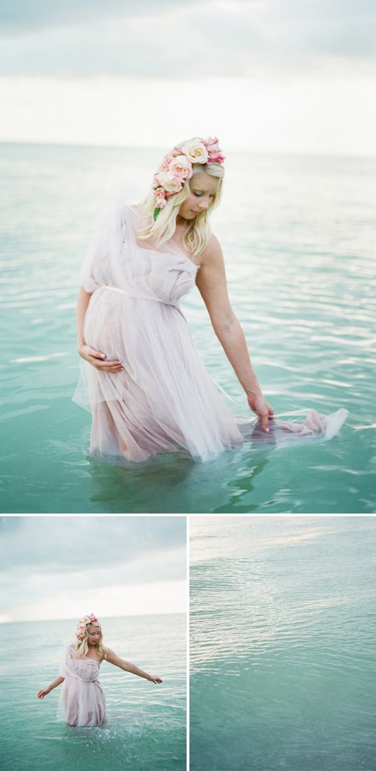 Dreamy seaside maternity shoot... Ok, I could never pull this off, but how sweet & nice is it? I mean, I would end up looking like a crazy Ursula-wanna-be, flowers falling out of hair, dress completely soaked. Yep. But still.