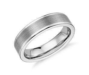 Satin Finish Wedding Ring in White Tungsten Carbide (6mm) #BlueNile