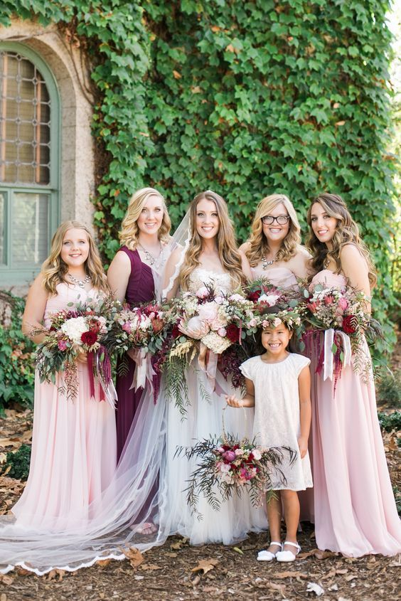 pink burgundy bridesmaid dresses / http://www.deerpearlflowers.com/burgundy-and-blush-fall-wedding-ideas/