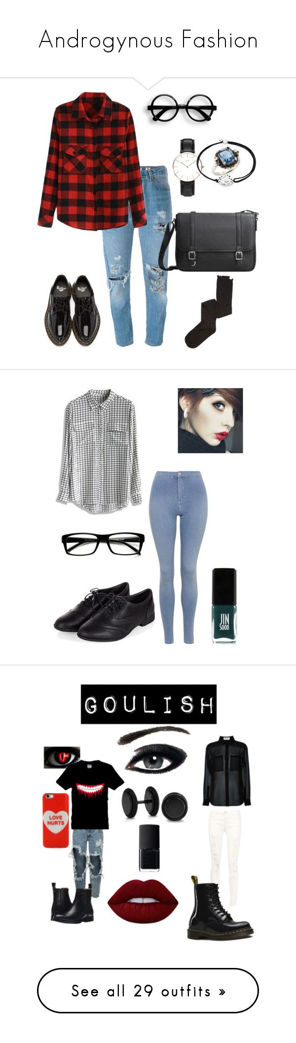 """""""Androgynous Fashion"""" by riley-is-ridiculous ❤ liked on Polyvore featuring Daniel Wellington, RE/DONE, Dr. Martens, Alex and Ani, Alexander McQueen, MANGO, Intimately Free People, Chicwish, Topshop and ZeroUV"""