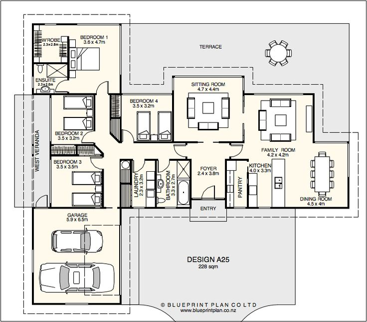 T shaped house plan