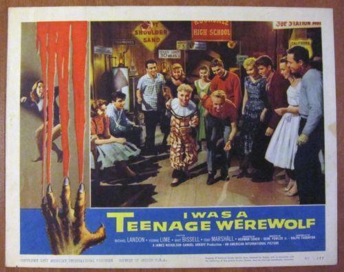 "1957 Original Vintage Horror Lobby Card ""I Was A Teenage Werewolf"" Number 57 377   eBay"