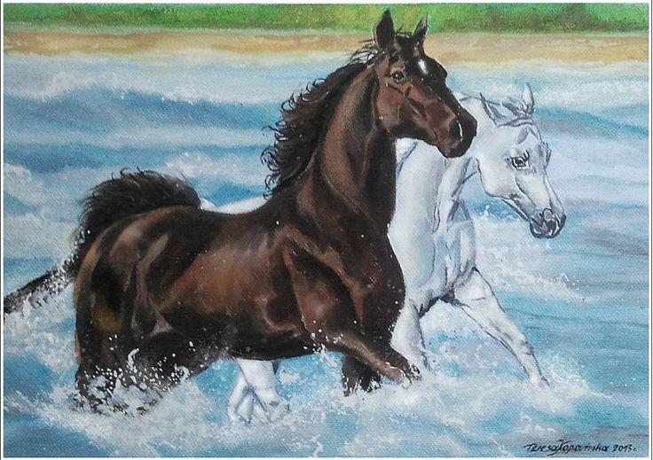 """Dzikie konie"" (akwarela + pastele A-4)"