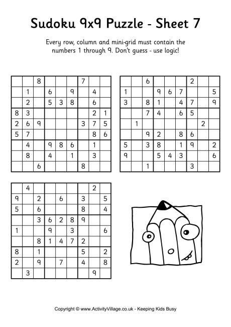 Sudoku 9x9 Puzzle 7 Puzzle Puzzles Answers Puzzles