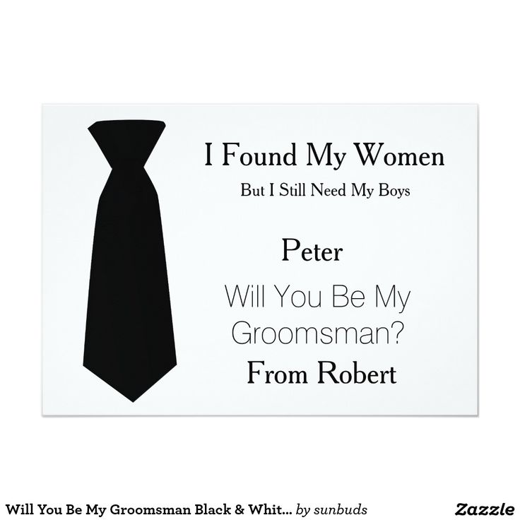 Will You Be My Groomsman Black & White Tie 5x7 Paper Invitation Card