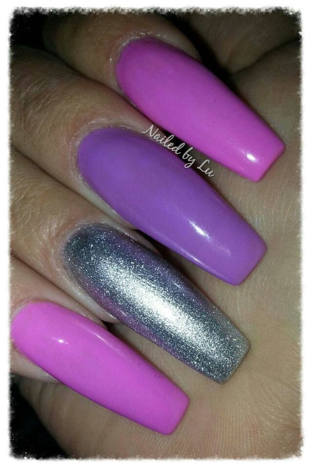 Spring acrylic nails.. . Long coffin / ballerina / squareletto shaped with pink, purple and silver gel polish