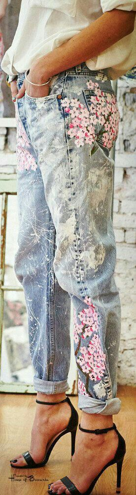 This is J | blue jean baby | thisisj.com | painted denim | flower jeans