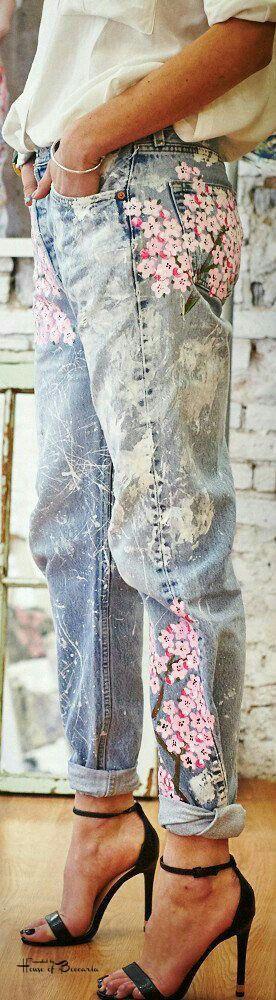 This is J | blue jean baby | thisisj.com | painted denim | flower jeans