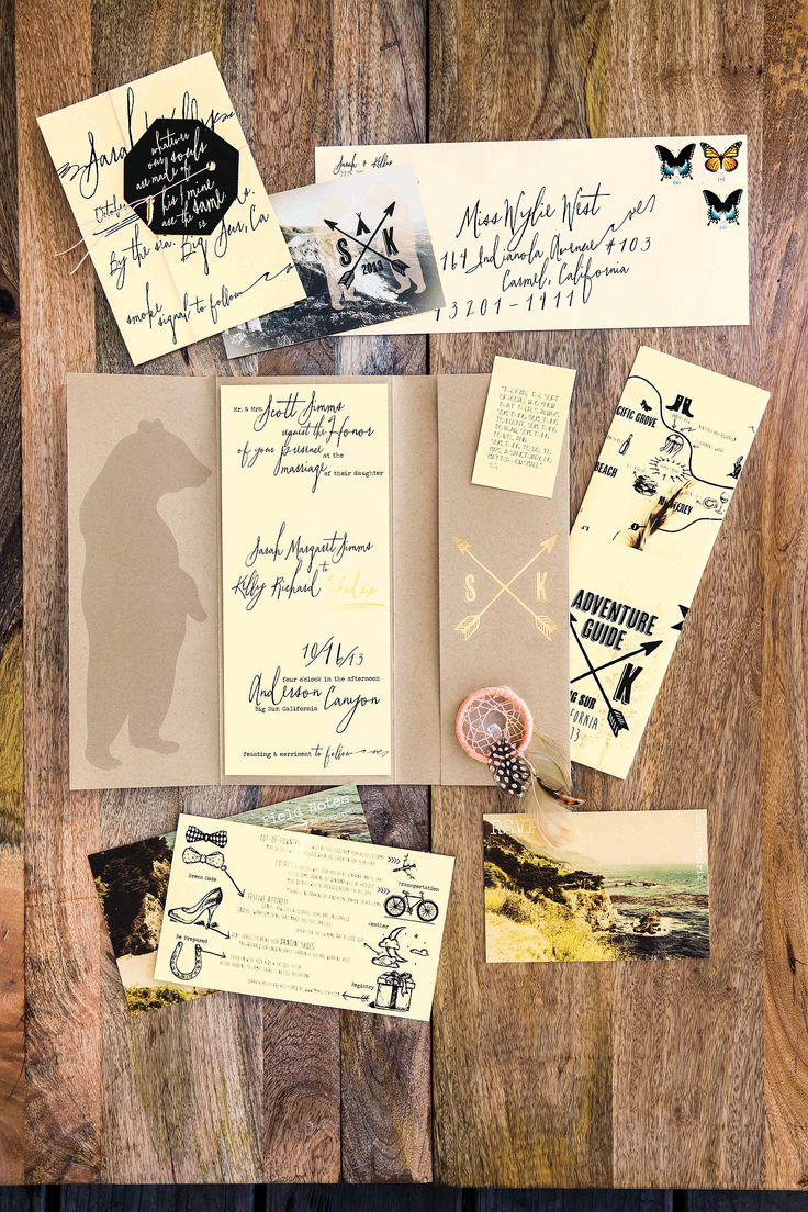 Vintage postcard-inspired invites and a hand-drawn map: Photo by Erin Kunkel