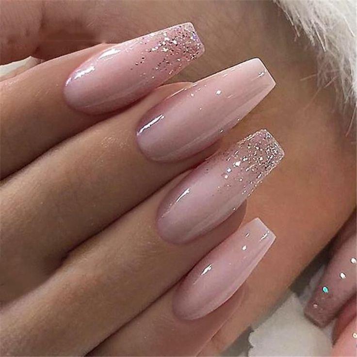 600pcs/Bag Ballerina Nail Art Tips Transparent/Nat…