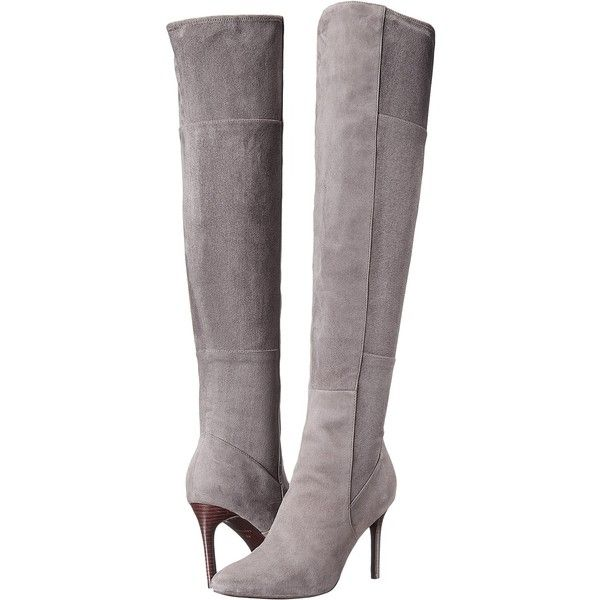 Cole Haan Emilee Over the Knee Boot (Gray) Women's Shoes ($375) ❤ liked on Polyvore featuring shoes, boots, grey, over-the-knee boots, faux-fur boots, pull on boots, grey over the knee boots, slip on boots and stacked heel boots