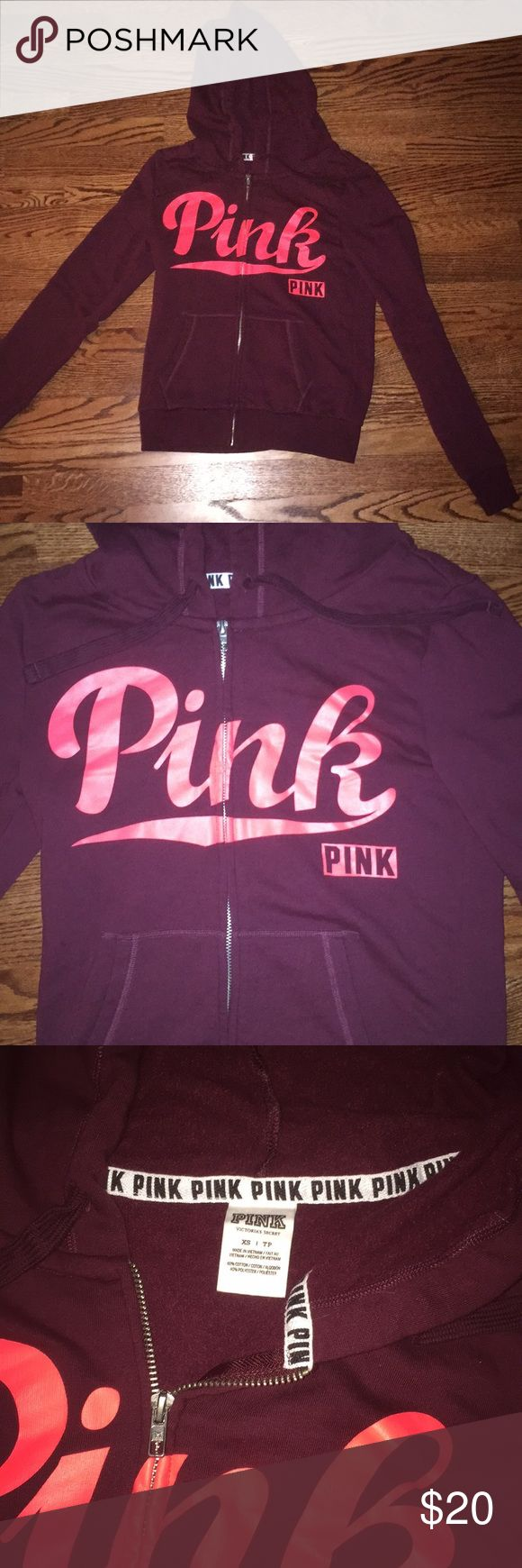 Victoria's Secret PINK zip-up- size XS Maroon and bright coral Victoria's Secret PINK zip-up in a size XS. Only worn a handful of times! PINK Victoria's Secret Jackets & Coats
