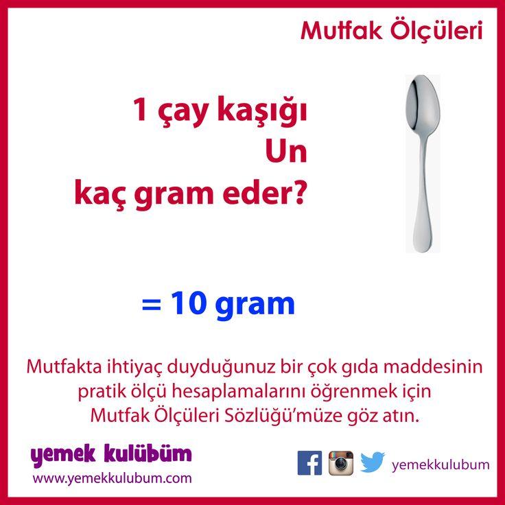 PRATİK MUTFAK ÖLÇÜLERİ : Bir çay kaşığı Un kaç gram eder? http://yemekkulubum.com/icerik_sayfa/kasik-olculeri