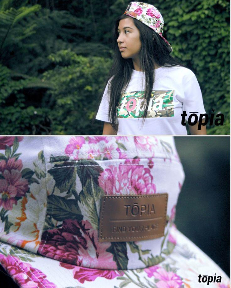tōpia woodland white tee // floral hat. #topiaclothing