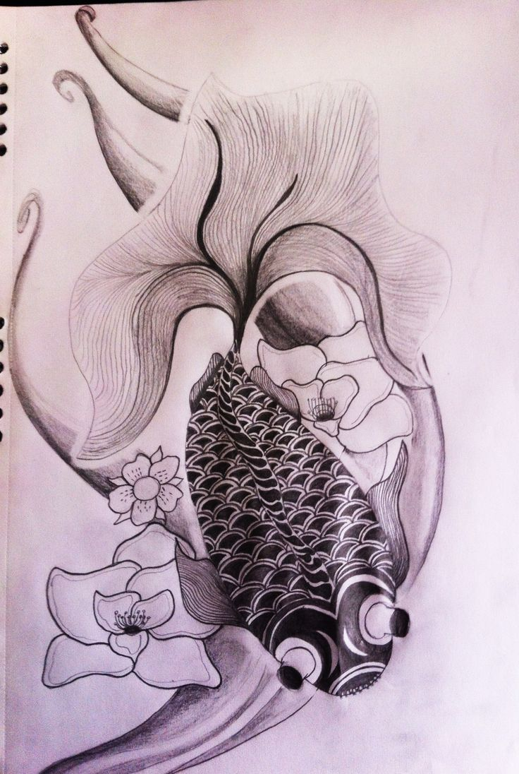 Tatto design. Fish. Japan. Chinese.Water. lilly. Lotus. cherry blossum. gold fish. traditional. black and grey.